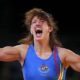 Spain's Maider Unda reacts after defeating Belarus' Vasilisa Marzalyuk for the bronze medal on the Women's 72Kg Freestyle wrestling at the ExCel venue during the London 2012 Olympic Games August 9, 2012.          REUTERS/Damir Sagolj (BRITAIN  - Tags: OLYMPICS SPORT WRESTLING)