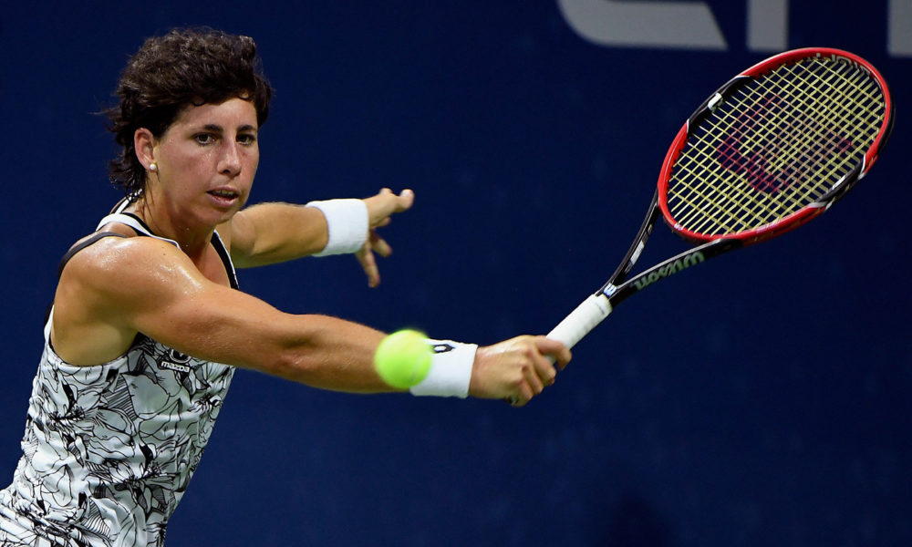 September 01, 2016 - Carla Suárez Navarro in action against Jelena Jankovic during the 2016 US Open at the USTA Billie Jean King National Tennis Center in Flushing, NY.