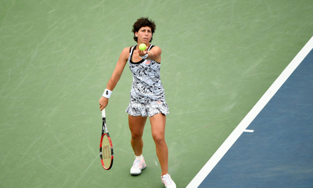 September 3, 2016 - Carla Suarez Navarro in action against Elena Vesnina during the 2016 US Open at the USTA Billie Jean King National Tennis Center in Flushing, NY.